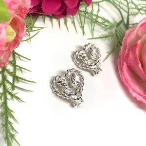 ⚜️VINTAGE Silver Heart - Love Knot Clip Earrings